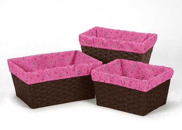 Cowgirl Bandana Print 3 Piece Basket Liner Set By Sweet Jojo Designs.