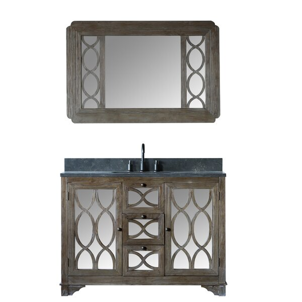 Bonaventure Solid Elm 48 Single Bathroom Vanity Set with Mirror by Rosecliff Heights