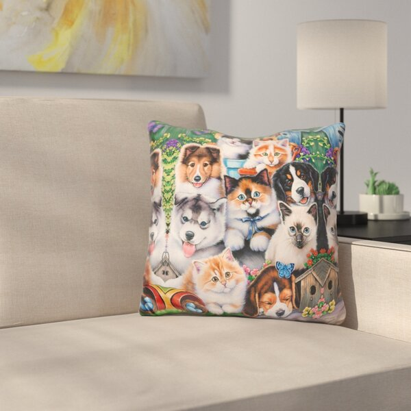 Kittens and Puppies in the Garden Throw Pillow by East Urban Home