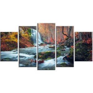 'Autumn Mountain Waterfall Long View' 5 Piece Photographic Print on Wrapped Canvas Set by Design Art