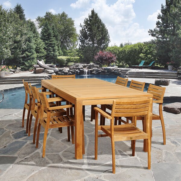 Bridgepointe 9 Piece Teak Dining Set by Rosecliff Heights