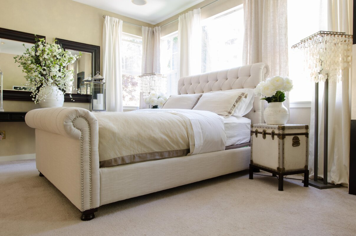 Elements fine home furnishings upholstered sleigh bed for Find home furnishings