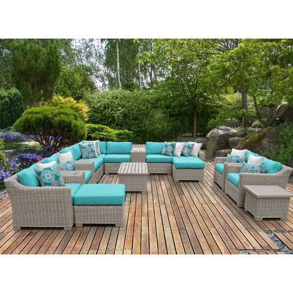 Claire 17 Piece Rattan Sectional Seating Group with Cushions by Rosecliff Heights