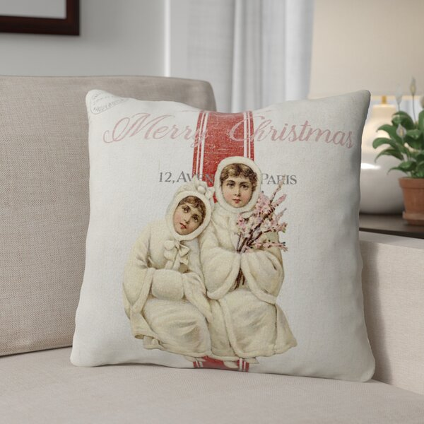 Maddix Children At Christmas Outdoor Throw Pillow by Red Barrel Studio