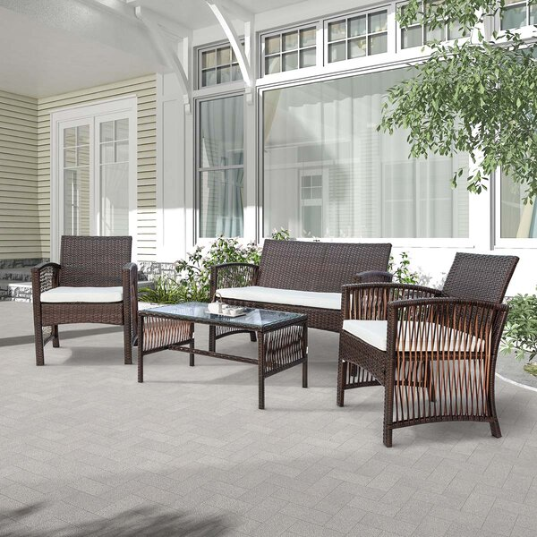 4 Piece Rattan Multiple Chairs Seating Group with Cushions (Set of 2)