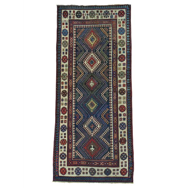 One-of-a-Kind Eastland Caucasian Talesh Exc Cond Wide Hand-Knotted Blue/Red Area Rug by World Menagerie