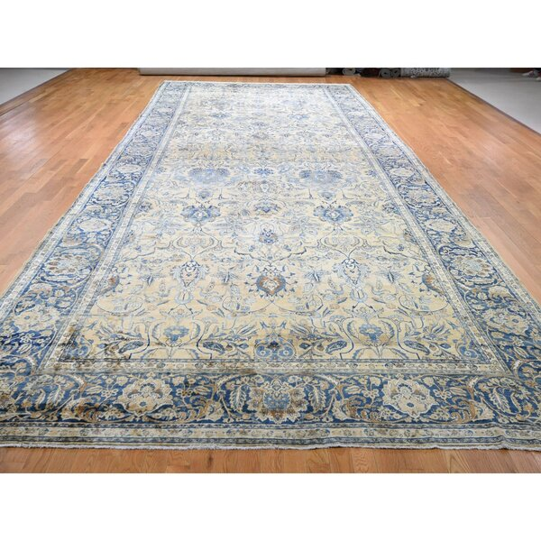 One-of-a-Kind Hand-Knotted 1900s Gray/Blue/Beige 9'6 x 24' Runner Wool Area Rug