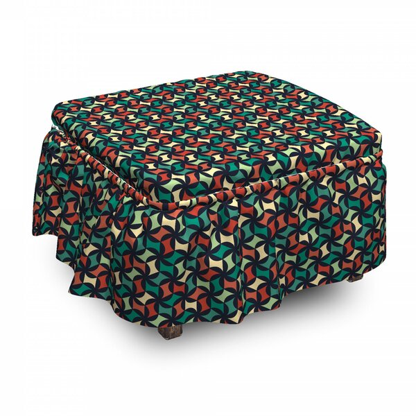 Discount Abstract Shapes Geometric Ottoman Slipcover (Set Of 2)