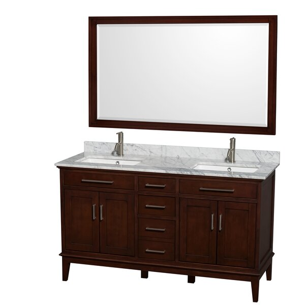 Hatton 60 Double Dark Chestnut Bathroom Vanity Set with Mirror by Wyndham Collection