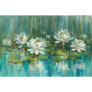 'Water Lily Pond' Painting Print on Canvas by East Urban Home
