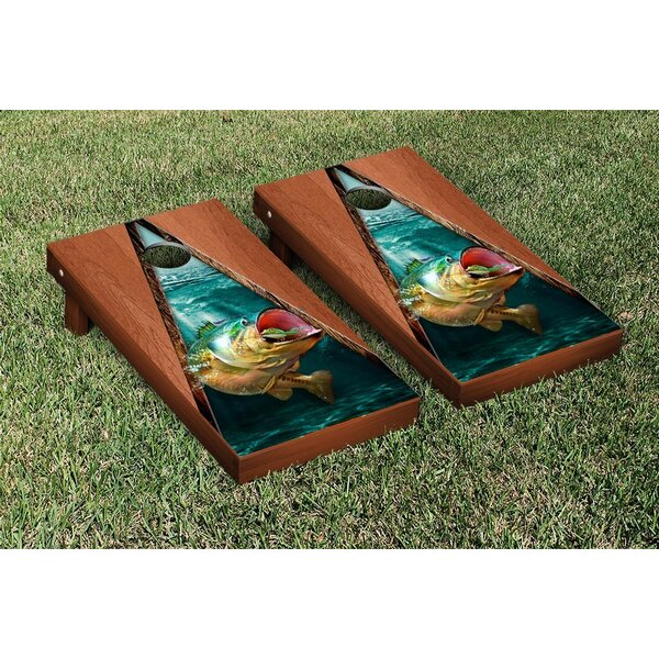 Bass Fishing Rosewood Stained Triangle Version Cornhole Game Set by Victory Tailgate