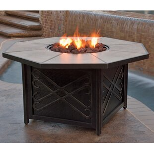 Compare prices Jeremiah Aluminum Propane/Natural Gas Fire Pit Table By Hazelwood Home