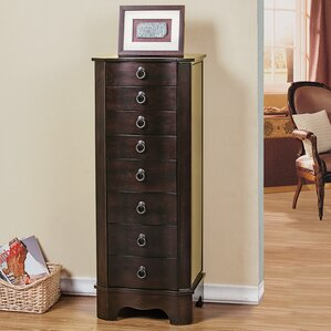 7 Drawer Jewelry Armoire with Flip Top Mirror by CTE Trading