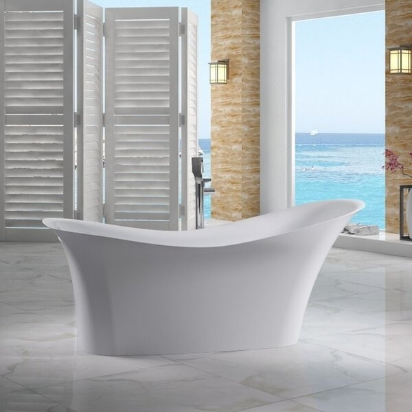 Solid Surface Smooth Resin 74 x 33.8 Freestanding Soaking Bathtub by Alfi Brand