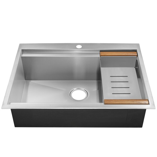 30 x 22 Drop-In Top Mount Stainless Steel Single Bowl Kitchen Sink w/ Tray by AKDY