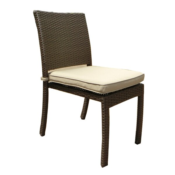 Leaman Stacking Patio Dining Chair with Cushion by Latitude Run Latitude Run