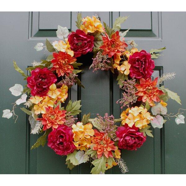 24 Autumn Peony Dahlia Hydrangea Wreath by Charlton Home