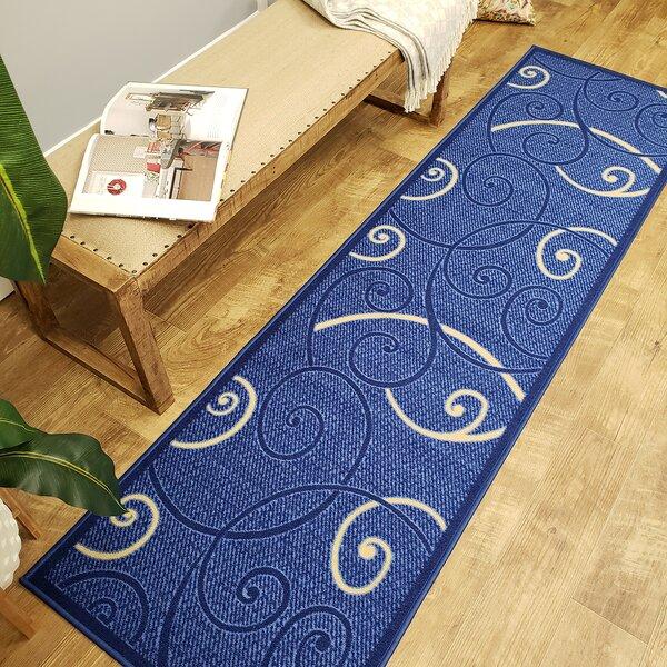 Claudette Tribal Filigree Blue Area Rug by Fleur De Lis Living