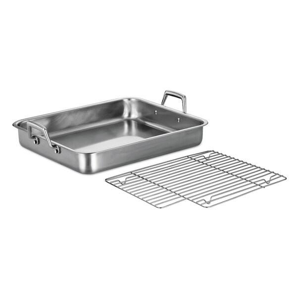 Gourmet Prima 16.5 Lasagna Roasting Pan with Basting Grill by Tramontina