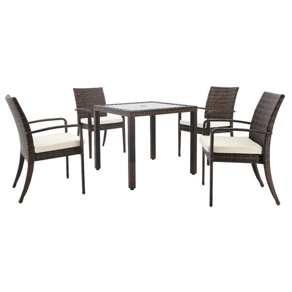 Stillwell 5 Piece Dining Set with Cushions and Umbrella by Bay Isle Home
