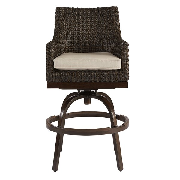 Asphodèle Outdoor Wicker Patio Bar Stool with Cushion by Gracie Oaks