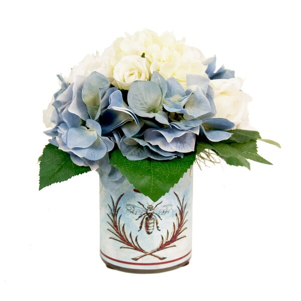 Blue and White Hydrangea Decoupage Pot by Ophelia & Co.