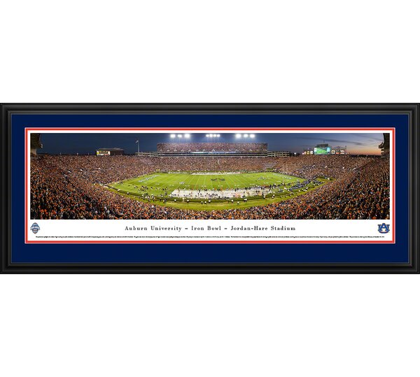 NCAA Auburn University - 50 Yard Line - Twilight Framed Photographic Print by Blakeway Worldwide Panoramas, Inc