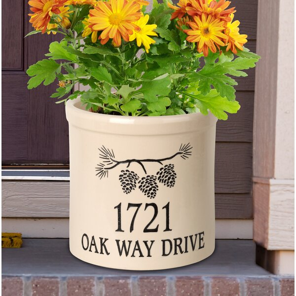 Woodlynne Personalized Pine Bough Ceramic Pot Planter by August Grove
