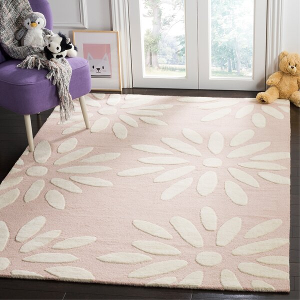 Claro Daisy Hand-Tufted Pink/Ivory Area Rug by Harriet Bee