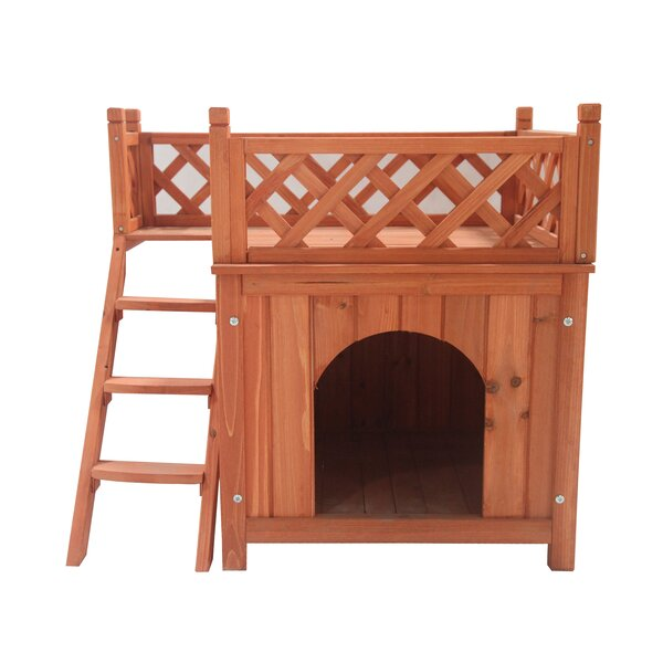 Merle Luxurious Wooden Dog Yard Kennel with Side Steps and Balcony by Tucker Murphy Pet