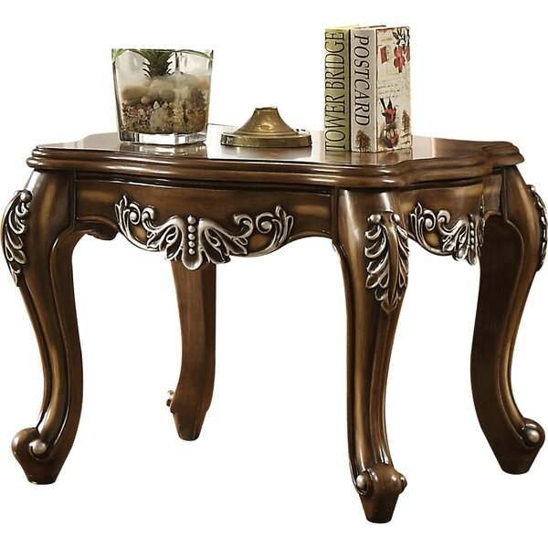 Savanna Fine Scrolled Work Wooden End Table by Astoria Grand