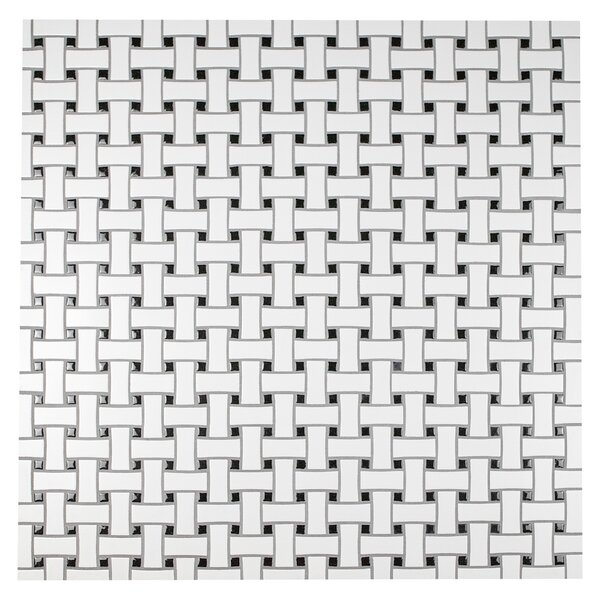 Retro Basket Weave Random Sized Porcelain Mosaic Tile in Matte White/Black by EliteTile