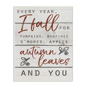 'Every Year I Fall For You Red and Gray Typography' Textual Art by Gracie Oaks
