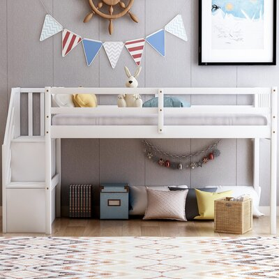 Isabelle and Max Biseye Twin Low Loft Bed  Bed Frame Color: White