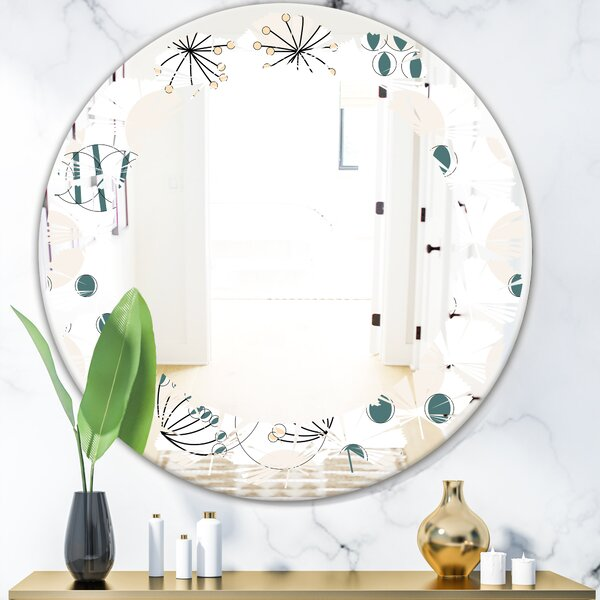 Leaves Abstract Pattern Cottage Americana Frameless Wall Mirror