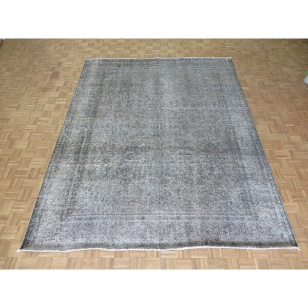 One-of-a-Kind Bristoly Overdyed Persian Tabriz Hand-Knotted Wool Gray Area Rug by Isabelline