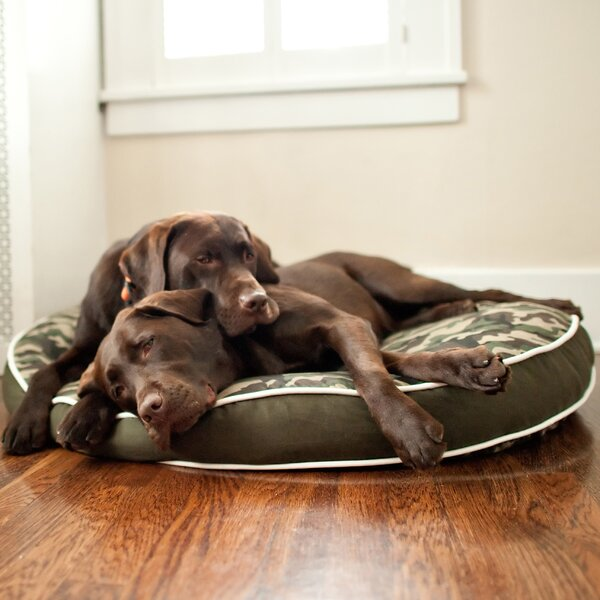 Backyard Camouflage Round Pillow Pet Bed by P.L.A.Y.