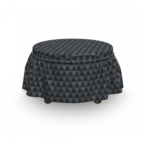 Diagonal Stripe Triangles Ottoman Slipcover (Set Of 2) By East Urban Home