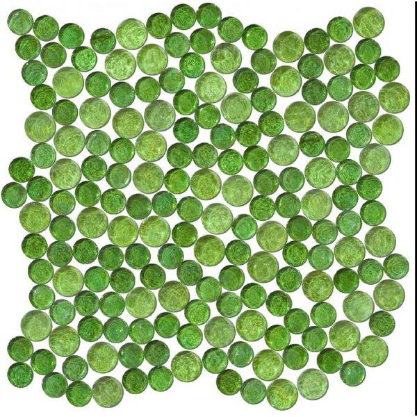 0.75 x 0.75 Glass Mosaic Tile in High-Gloss Green by Susan Jablon