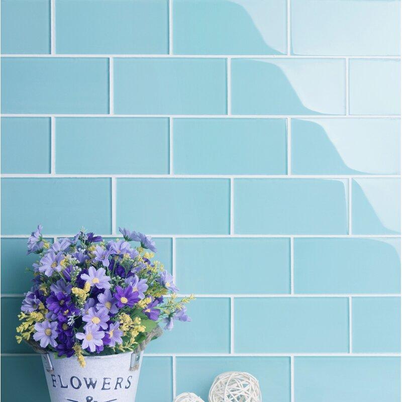 Ws Tiles Premium Series 3 X 6 Glass Subway Tile In Glossy Aqua