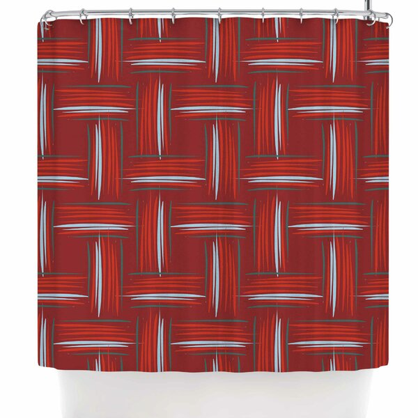 Empire Ruhl Red and Rust Crosshatch Digital Shower Curtain by East Urban Home