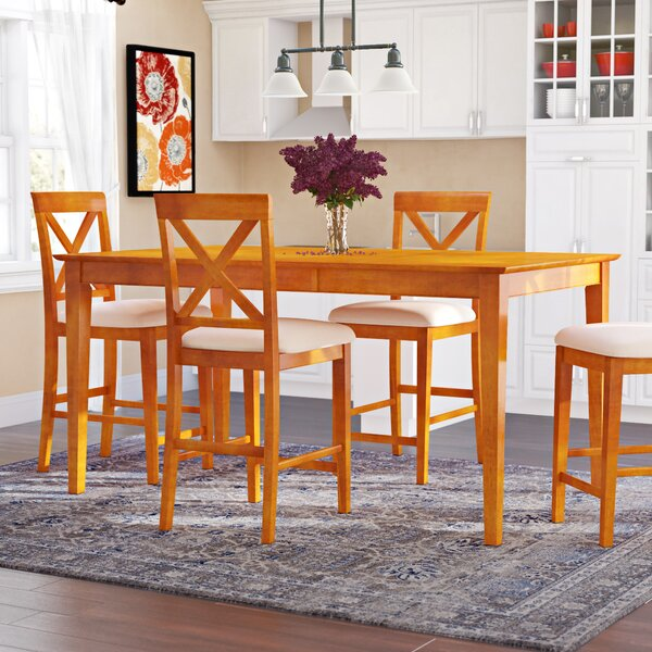 Haven 5 Piece Counter Height Solid Wood Dining Set by Winston Porter