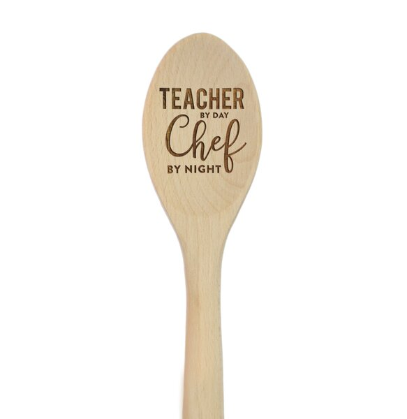 Teacher by Day Chef by Night Laser Engraved Wooden Mixing Spoon by Koyal Wholesale