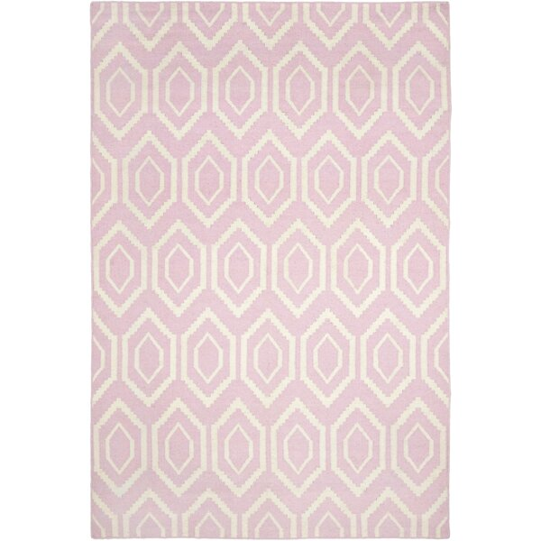 Crawford Hand-Woven Wool Pink/Ivory Area Rug by Brayden Studio