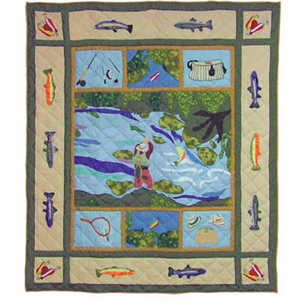 Fly Fishing Cotton Throw by Patch Magic