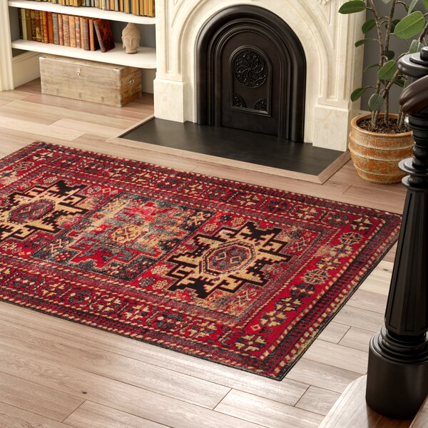 Parthenia Red Area Rug by Bloomsbury Market