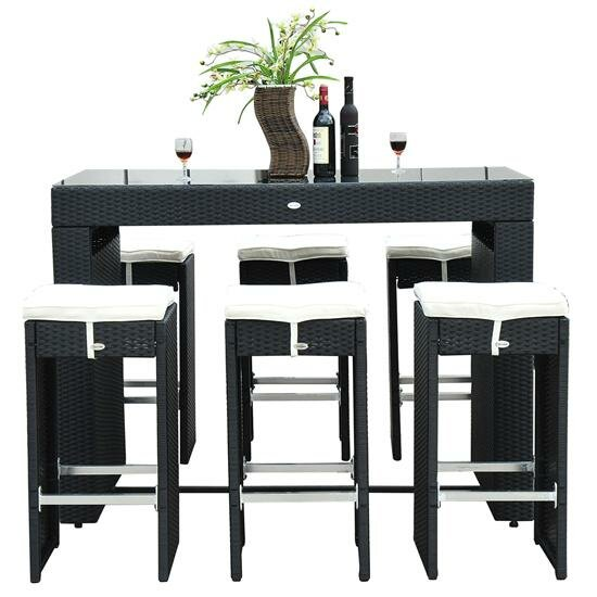 Haddox 7 Piece Bar Height Dining Set with Cushions by Mercury Row
