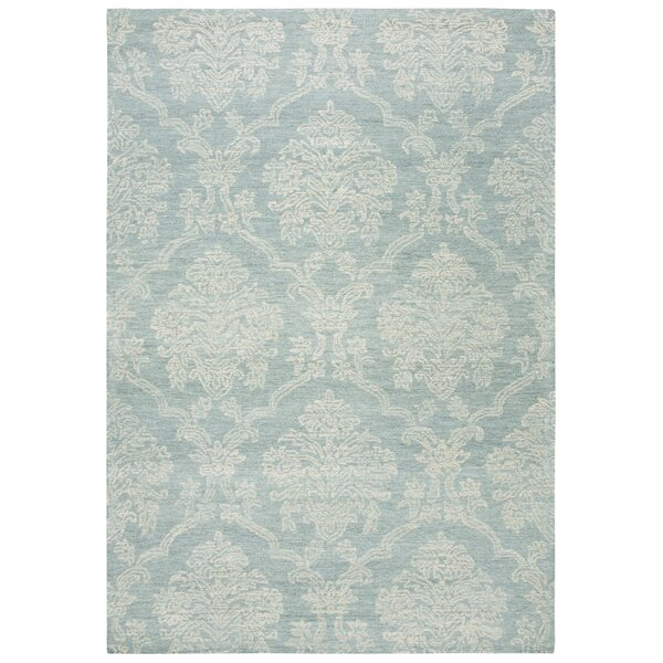 Genny Hand-Tufted Wool Aqua/Ivory Area Rug by Darby Home Co