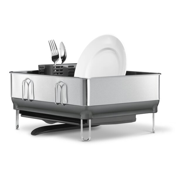 Compact Steel Frame Dish Rack Fingerprint Proof Stainless Steel With Plastic By Simplehuman.