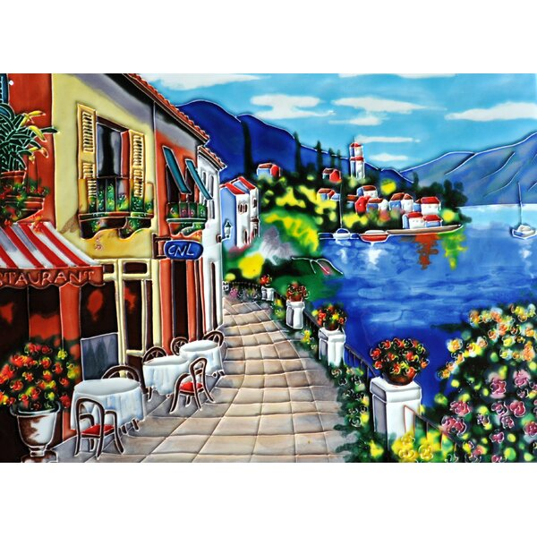 11 x 14 Ceramic European Scenery (Left) Decorative Mural Tile by Continental Art Center